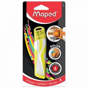 "Текстовыделитель-роллер MAPED (Франция) ""Fluo Pep's"", ЖЕЛТЫЙ, 5 мм, блистер, 746324"