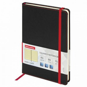 """Блокнот в клетку с резинкой А5 (148x218 мм), 80 л., под кожу черный BRAUBERG """"Office"""", 111027"""