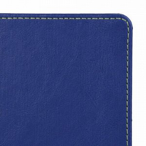 "Блокнот в клетку с резинкой А5 (148x218 мм), 80 л., под кожу синий BRAUBERG ""Office"", 111028"