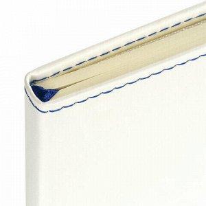 """Блокнот в клетку с резинкой А5 (148x218 мм), 80 л., под кожу белый BRAUBERG """"Office"""", 111029"""