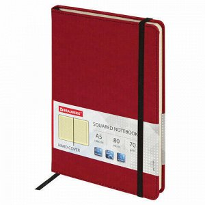 """Блокнот в клетку с резинкой А5 (148x218 мм), 80 л., под кожу красный BRAUBERG """"Office"""", 111030"""