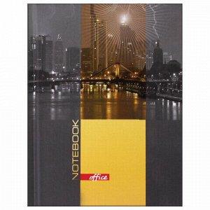 """Блокнот МАЛЫЙ ФОРМАТ (110х147 мм) А6, 80 л., ламинированная обложка, выборочный лак, клетка, BRAUBERG, """"Ночной город"""", 123246"""