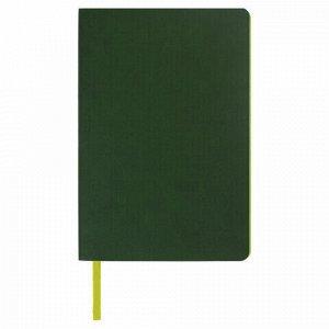 "Блокнот в клетку А5 (148x218 мм), 80 л., под кожу темно-зеленый BRAUBERG ""Metropolis Mix"", 111037"