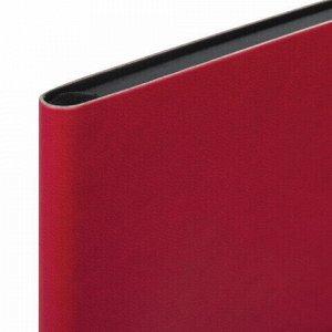 """Блокнот в клетку А5 (148x218 мм), 80 л., под кожу красный BRAUBERG """"Metropolis Mix"""", 111039"""