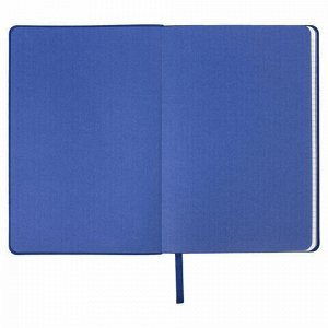 "Блокнот в клетку А5 (148x218 мм), 80 л., под кожу голубой BRAUBERG ""Metropolis Mix"", 111040"