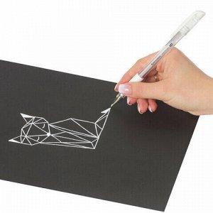 "Ручка гелевая с грипом BRAUBERG ""White"", БЕЛАЯ, пишущий узел 1 мм, линия письма 0,5 мм, 143416"