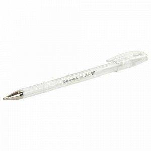 """Ручка гелевая BRAUBERG """"White Pastel"""", БЕЛАЯ, корпус прозрачный, узел 1 мм, линия письма 0,5 мм, 143417"""