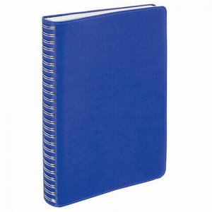 """Тетрадь А5 (148x218 мм), BRAUBERG """"Office PRO"""", гибкая, под кожу, гребень, 80 л., синяя, 111045"""