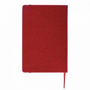 """Блокнот в клетку с резинкой А5 (148x218 мм), 80 л., под кожу красный BRAUBERG """"Metropolis Special"""", 111575"""