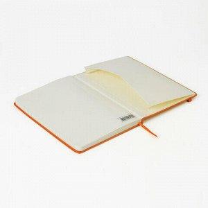 """Блокнот в клетку с резинкой А5 (148x218 мм), 80 л., под кожу оранжевый BRAUBERG """"Metropolis Special"""", 111576"""