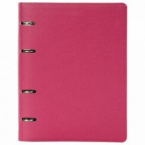 "Тетрадь на кольцах А5 (180х220 мм), 120 л., под фактурную кожу, BRAUBERG ""Joy"", розовый/светло-розовый, 129990"
