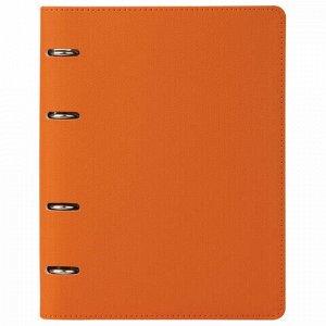 "Тетрадь на кольцах А5 (180х220 мм), 120 л., под фактурную кожу, BRAUBERG ""Joy"", оранжевый/светло-оранжевый, 129992"