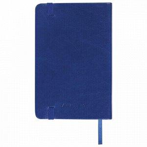 """Блокнот в клетку с резинкой МАЛЫЙ ФОРМАТ А6 (100x150 мм), 80 л., под кожу синий BRAUBERG """"Metropolis Special"""", 111580"""