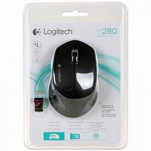 Мышь беспроводная LOGITECH M280, 2 кнопки + 1 колесо-кнопка, оптическая, черная, 910-004287