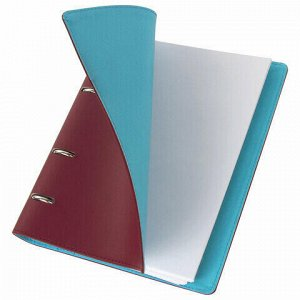 "Тетрадь на кольцах А5 (180х220 мм), 120 листов, под фактурную кожу, BRAUBERG ""Fusion"", коричневый/голубой, 129995"