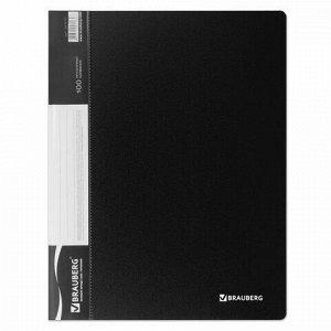 Папка 100 вкладышей BRAUBERG стандарт, черная, 0,9 мм, 221610