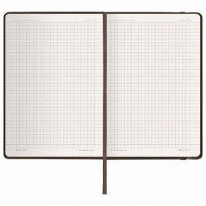 """Блокнот в клетку с резинкой А5 (148x218 мм), 80 л., балакрон коричневый BRAUBERG """"Metropolis"""", 111586"""