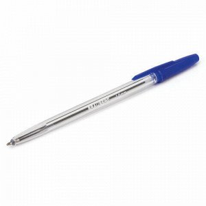 """Ручка шариковая BRAUBERG """"Line"""", СИНЯЯ, корпус прозрачный, узел 1 мм, линия письма 0,5 мм, 141097"""