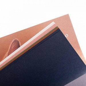 """Папка для пастели/планшет А3, 15 листов, 5 цветов, 160 г/м2, хлопок 40%, тиснение """"Холст"""", """"Теплые цвета"""", ПЛ-8886"""
