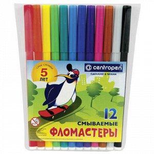 """Фломастеры 12 ЦВЕТОВ CENTROPEN """"Пингвины"""", смываемые, вентилируемый колпачок, 7790/12ET, 7 7790 1286"""