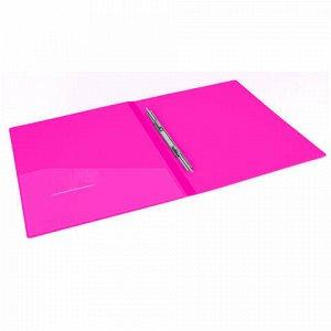 """Папка с металлическим скоросшивателем и внутренним карманом BRAUBERG """"Neon"""", 16 мм, розовая, до 100 листов, 0,7 мм, 227466"""