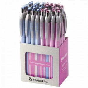 """Ручка шариковая автоматическая BRAUBERG """"Sakura"""", корпус ассорти, узел 0,5 мм, линия письма 0,3 мм, 141287"""