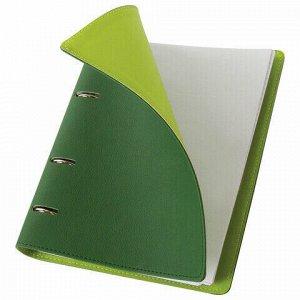 """Тетрадь на кольцах А5 (180х220 мм), 120 л., под фактурную кожу, BRAUBERG """"Joy"""", зелёный/светло-зелёный, 129991"""