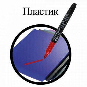 Маркер перманентный (нестираемый) BRAUBERG, КРАСНЫЙ, круглый наконечник, 1,5-3 мм, с клипом, 151631