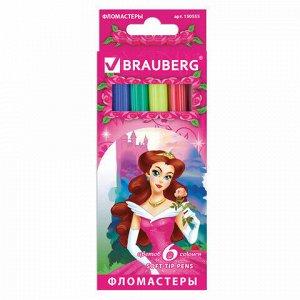 """Фломастеры BRAUBERG """"Rose Angel"""", 6 цветов, вентилируемый колпачок, картонная упаковка, увеличенный срок службы, 150555"""