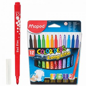"""Фломастеры MAPED (Франция) """"Color'Peps Long Life"""", 12 цветов, смываемые, трехгранные, картонная упаковка, 845020"""