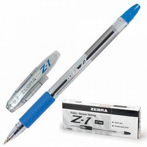 """Ручка шариковая с грипом ZEBRA """"Z-1"""", СИНЯЯ, корпус прозрачный, узел 0,7 мм, линия письма 0,5 мм, BP074-BL"""