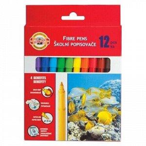 """Фломастеры KOH-I-NOOR """"Рыбки"""", 12 цветов, смываемые, трехгранные, картонная упаковка, европодвес, 771002AB05KS"""