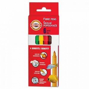 """Фломастеры KOH-I-NOOR """"Рыбки"""", 6 цветов, смываемые, трехгранные, картонная упаковка, европодвес, 771002JF05KS"""