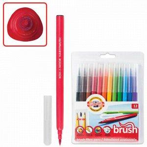 Фломастеры KOH-I-NOOR, 12 цветов, наконечник-кисть, смываемые, трехгранные, пластиковая упаковка, 771009AB01TE
