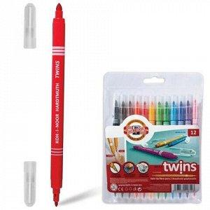 Фломастеры KOH-I-NOOR, 12 цветов, двухсторонние, 1 и 3 мм, смываемые, пластиковая упаковка, подвес, 771023AB02TE
