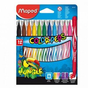 """Фломастеры MAPED (Франция) """"Color'Peps Jungle"""", 12 цветов, смываемые, вентилируемый колпачок, 845420"""