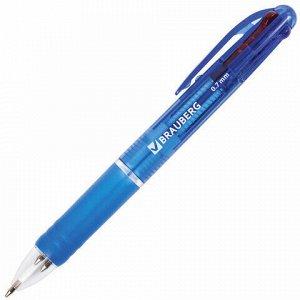 """Ручка шариковая автоматическая с грипом BRAUBERG """"Spectrum"""", 4 ЦВЕТА (синяя, черная, красная, зеленая), линия письма 0,35мм, 141513"""
