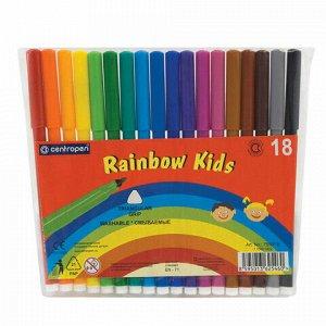 """Фломастеры 18 ЦВЕТОВ CENTROPEN """"Rainbow Kids"""", круглые, смываемые, вентилируемый колпачок, 7550/18ET, 7 7550 1802"""