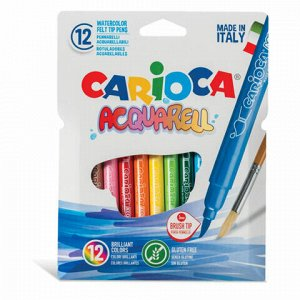 """Фломастеры акварельные CARIOCA (Италия) """"Aquarell"""", 12 цветов, наконечник-кисть, смываемые, картонный конверт, 42747"""
