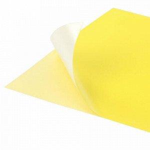 Цветная бумага А4 офсетная САМОКЛЕЯЩАЯСЯ, 10 листов, ЖЕЛТАЯ, 80 г/м2, BRAUBERG, 129290