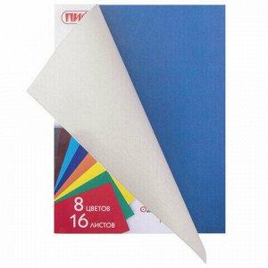 """Цветная бумага А4 газетная, 16 листов 8 цветов, на скобе, ПИФАГОР, 200х283 мм, """"Мишка сладкоежка"""", 129564"""