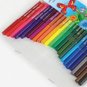 """Фломастеры BRAUBERG """"Wonderful butterfly"""", 24 цвета, вентилируемый колпачок, пласт. упаковка, увеличенный срок службы, 150524"""
