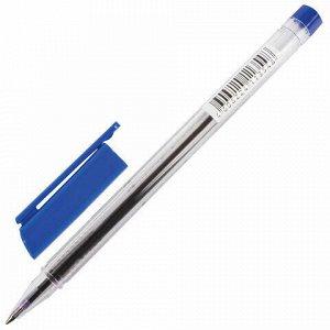 Ручка шариковая BRAUBERG, СИНЯЯ, трехгранная, корпус прозрачный, узел 0,7 мм, линия письма 0,5 мм, 141707