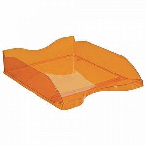"""Лоток горизонтальный для бумаг СТАММ """"Люкс"""", А4 (350х255х70 мм), тонированный оранжевый, ЛТ613"""
