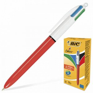 """Ручка шариковая автоматическая BIC """"4 Colours"""", 4 цвета (синий, черный, красный, зеленый), узел 0,8 мм, линия письма 0,3 мм, 889971"""