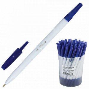 """Ручка шариковая СТАММ """"049"""", СИНЯЯ, корпус белый, узел 1,2 мм, линия письма 0,7 мм, РШ11"""