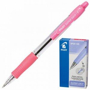 """Ручка шариковая масляная автоматическая с грипом PILOT """"Super Grip"""", СИНЯЯ, розовые детали, линия письма 0,32 мм, BPGP-10R-F"""