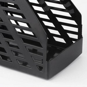 """Лоток вертикальный для бумаг BRAUBERG """"MAXI-plus"""" (250х160х300 мм), сетчатый, черный, 237005"""