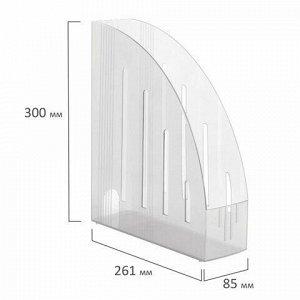 """Лоток вертикальный для бумаг BRAUBERG """"Energy"""" (261х85х300 мм), эргономичная форма,прозрачный, 231555"""