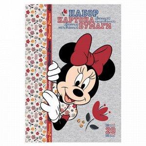 """Набор цветного картона и бумаги А4 мелованные, 10+10 листов, в папке, HATBER, 194х280 мм, """"Минни Маус"""", 20НКБ4, 20НКБ4_20572"""